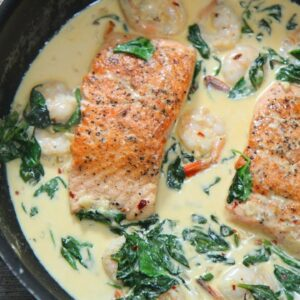 Creamy Garlic Salmon and Shrimp episode 385