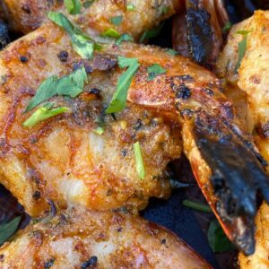 Grilled shrimp on skewers. Really easy recipe