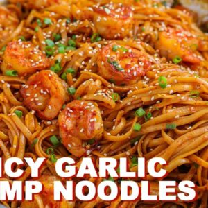 QUICK Spicy Garlic Shrimp Noodles Dinner at Home