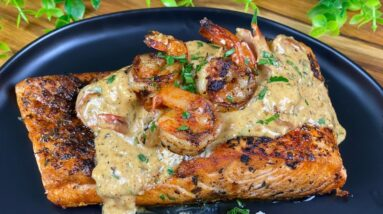 The BEST Blackened Salmon with Sautéed Shrimp- MUST TRY TONIGHT!